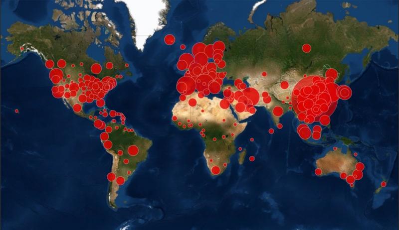 Online COVID-19 Virüsü Dünya genelinde Yayılma Harıtası !