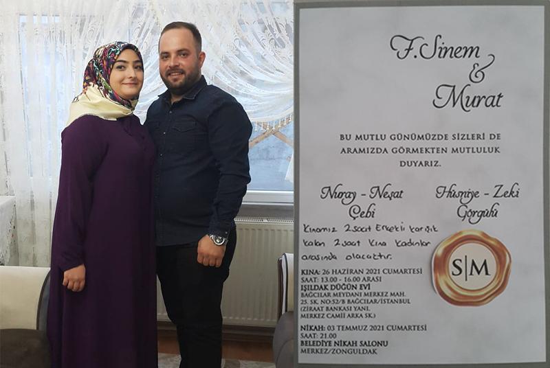 Sinem Çebi ve Murat Görgülü Dünya evine giriyor.